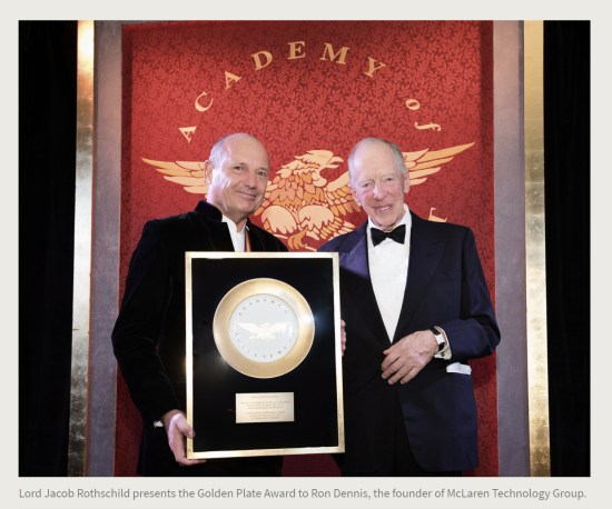 Press Release. (Oct. 10, 2017). 52nd International Academy of Achievement, London and Oxfordshire, keynote speaker Neil Gorsuch. U.S./UK Pilgrims Society. (Lord Jacob Rothschild presents the Golden Plate Award to Ron Dennis, the founder of McLaren Technology Group.)