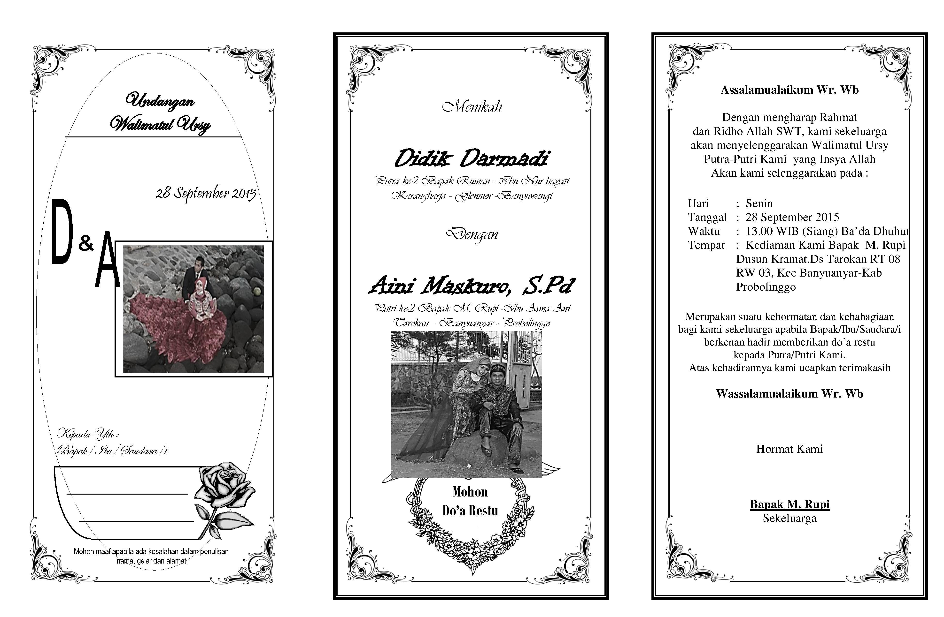 Undangan Walimatul Ursy Atau Syukuran Pernikahan Aimarusciencemania