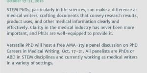 Versatile PhD: Careers in Medical Writing