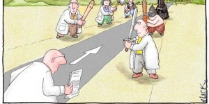 Cartoon depicting peer review as a series of physical beatings.