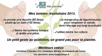 J'aime ma planète - résolutions 2013