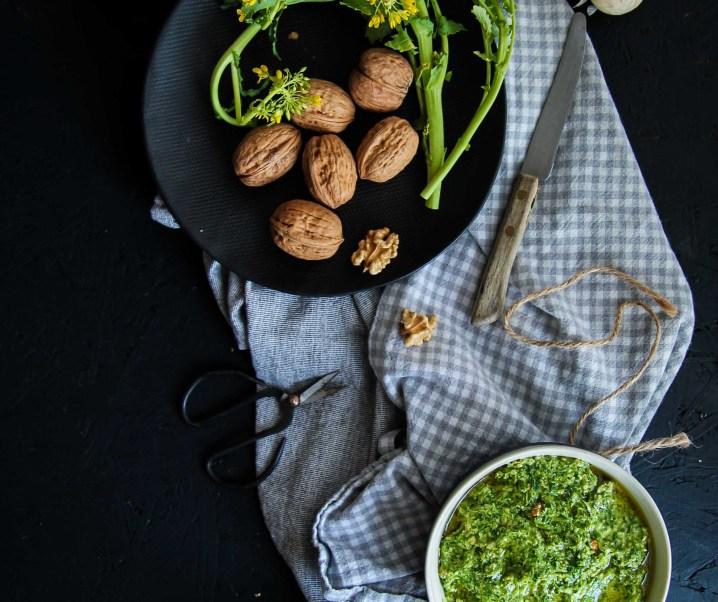 Pesto aux noix et cime di rappa {vegan – sans gluten}