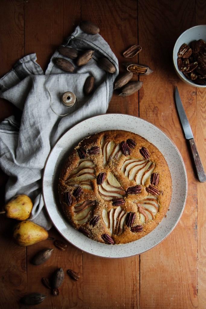 Gâteau aux poires et noix de pécans {Vegan – glutenvrij}
