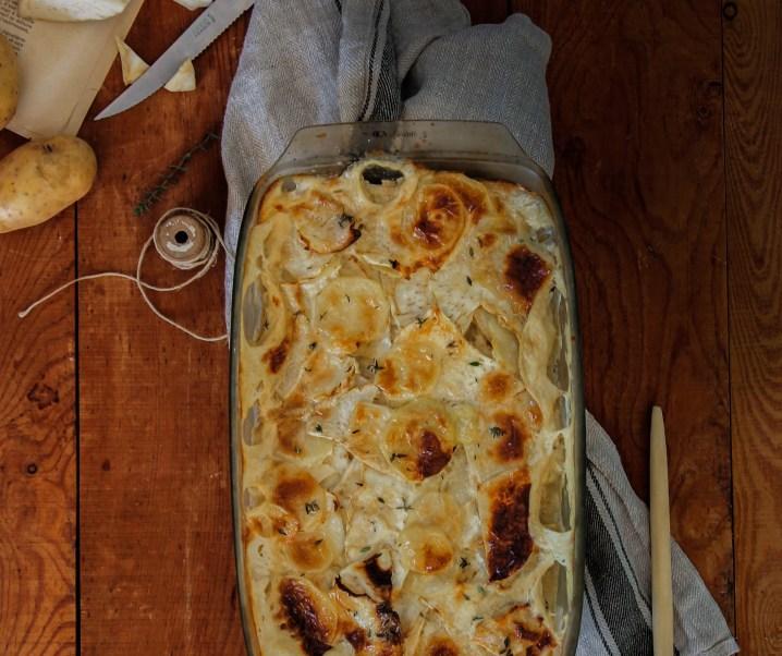 Gegratineerde aardappel en selderij {Vegan- glutenvrij}