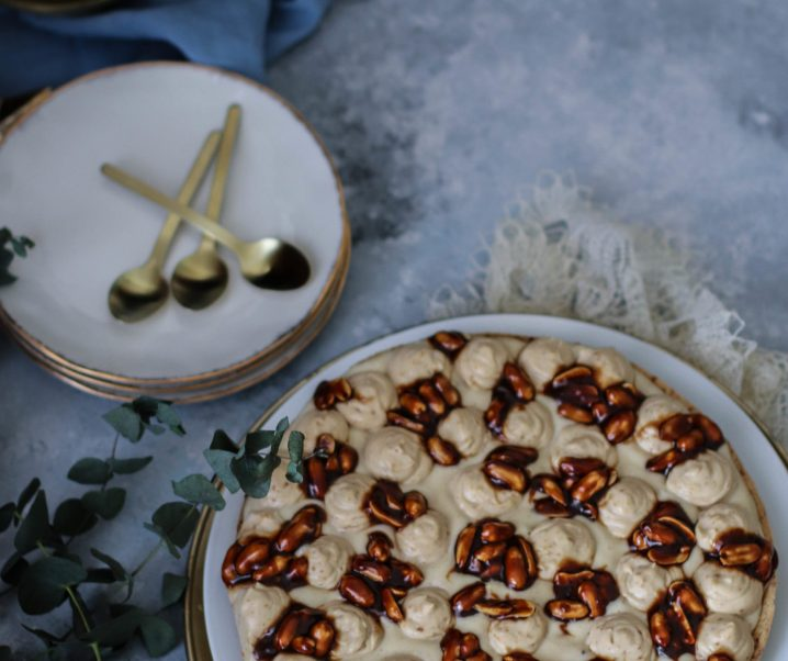 Tarte de Noël chocolat blanc, cacahuète {vegan}
