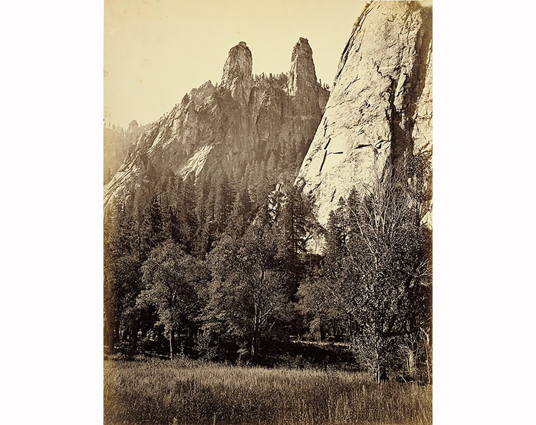 Cathedral Spires, Yosemite 1865-66, Getty Museum. Ralph Waldo Emerson hung a copy of this photo in his living room.