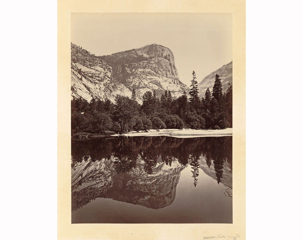 Mount Watkins Fully Reflected in Mirror Lak 1865-66, Library of Congress,. The mountain was named after CPRR photographer Carleton Watkins