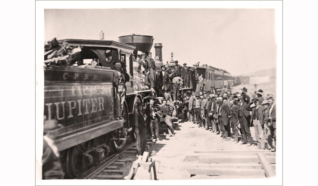 Celebration of completion of the Transcontinental Railroad, A.J. Russell, National Park Service