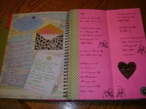 And - another page with song lyrics on the pink page (Hallelujah - Heather Williams)