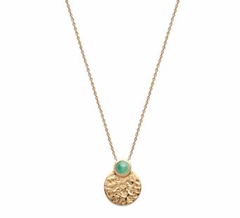 Collier Dune plaqué or 18 carats 3 microns médaillon martelé, pierre venturine Aimée Private Collection tendance influenceuse bijoux fantaisie mode