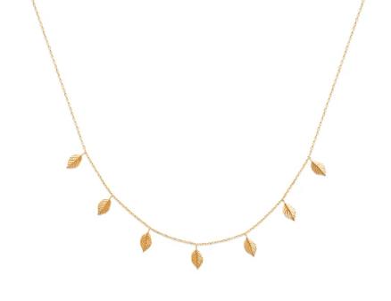Collier Peach en plaqué or 18 carats 3 microns Aimée private collection petites feuilles, splendide bijoux tendance, mode