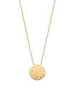 Collier Tim en plaqué or 18 carats 3 microns aimée private collection avec un médaillon martelé, tendance mode