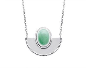 Collier Vida argent 925 rhodié demi cercle, pierre venturine Aimée Private Collection tendance influenceuse bijoux fantaisie mode