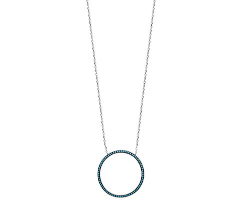 Collier Caraca argent 925 rhodié anneau serti de turquoises Aimée Private Collection tendance influenceuse bijoux fantaisie mode