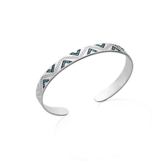 Jonc Tiou en argent 925 rhodié micro serti turquoises Aimée private collection bijoux tendance mode influenceuse