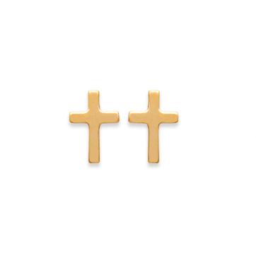 Boucles d'oreilles Christ croix plaqué or 18K 3 microns Aimée Private Collection nouveau modèle influenceuse top tendance