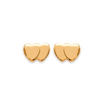 Boucles d'oreilles Babe plaqué or 18K 3 microns double petit coeurs Aimée Private Collection nouveau tendance influenceuse