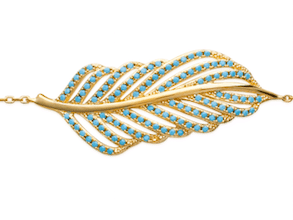 Collier Minnie plaqué or 18K et feuille micro sertie de turquoises Aimée Private Collection tendance influenceuse