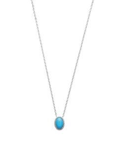 Collier Pastel en argent 925 rhodié serti d'une pierre turquoise Aimée Private Collection élégant et raffiné
