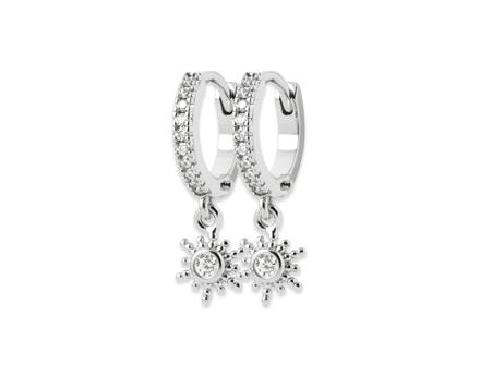 Boucles d'oreilles mini-créoles en argent 925 rhodié avec un diamant en oxyde de zirconium.