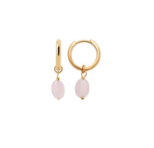 Boucles d'oreilles mini-créoles en plaqué or 3 microns 18 carats avec une pierre naturelle semi-précieuse en Quartz Rose.