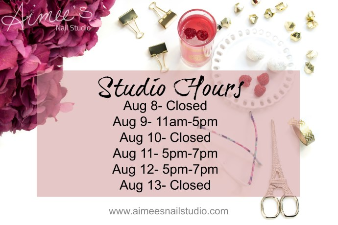 Studio Hours for Aimees Nail Studio Peterborough ON