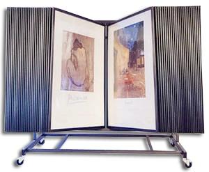 panel steel display with 50 panels poster artwork display flip swing rack new item fad 16