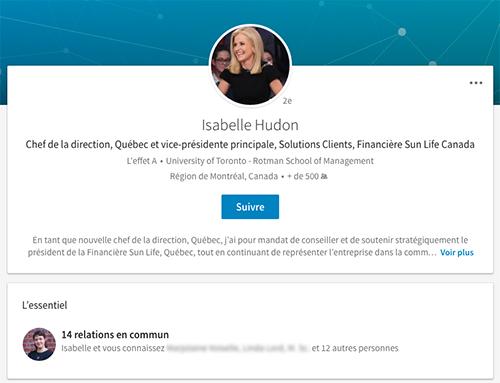 Isabelle Hudon LinkedIn