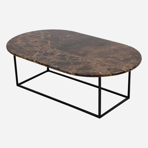 marble coffee table oval brown aime te