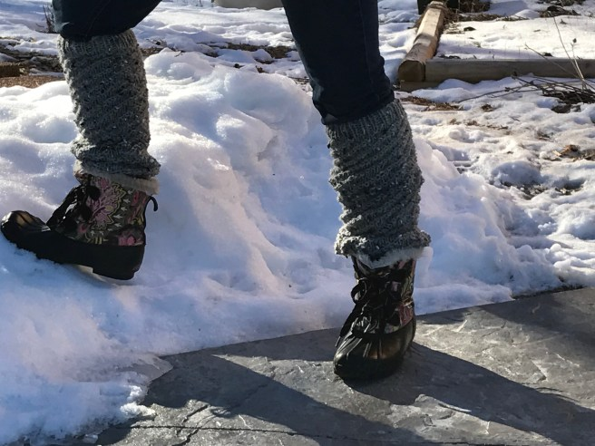 Leg warmers with skinny jeans and boots