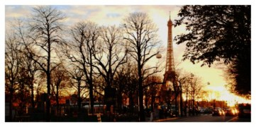 Eiffel Tower, Tour Eiffel, trees, Paris, sunset