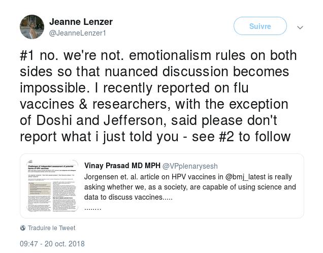 1 L émotionnel dirige les deux camps  NdT   pro et anti vaccinalistes  de  telle sorte que toute discussion nuancée est impossible. J ai récemment  écrit sur ... def5e7d1719