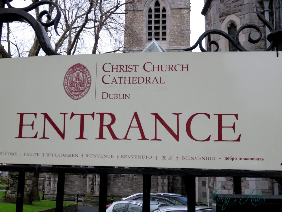 Christ Church Cathedral entrance sign in Dublin