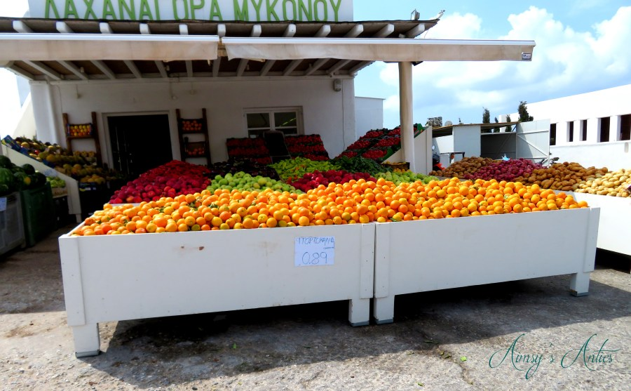 Image of a Fruit and veg stall in Mykonos