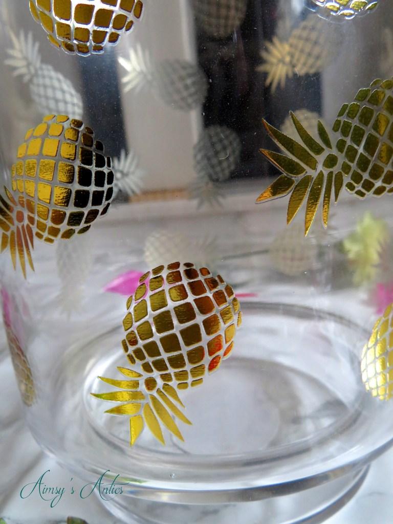 Close up of pineapple print vase