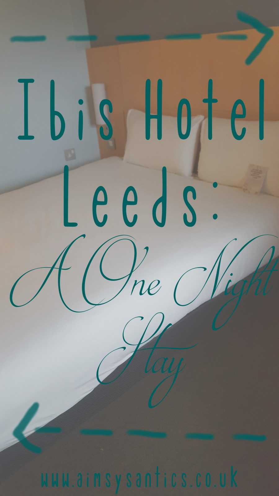 Image of the blog title page. Faded double bed picture from Ibis Hotel with blog title written over it.