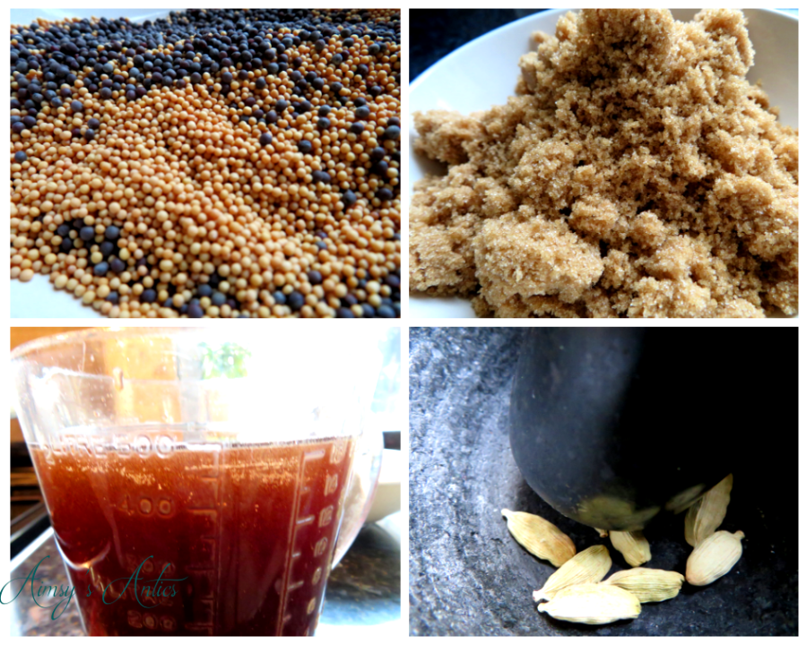 Image of four different ingredients. Picture one is of black and yellow mustard seeds, picture 2 being brown sugar, picture 3 of malt vinegar in a measuring jug and picture 4 being several cardamom seeds in a pestle and mortar.