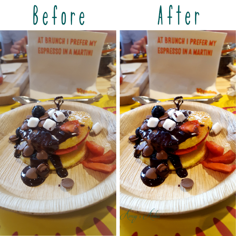 Image of before and after shots of a photo of Chocolate covered pancakes with various toppings.
