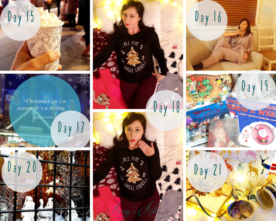 """Image of several images included in the challenge. These images include, a hot chocolate at Leeds' German Market, a woman in pyjamas, two phtotos of a woman showing off various Christmas Jumpers, a selection of Christmas books, a Christmas Window scene, wrapping paper and a Christmas quote """"Christmas isn't a season. It's a feeling""""."""