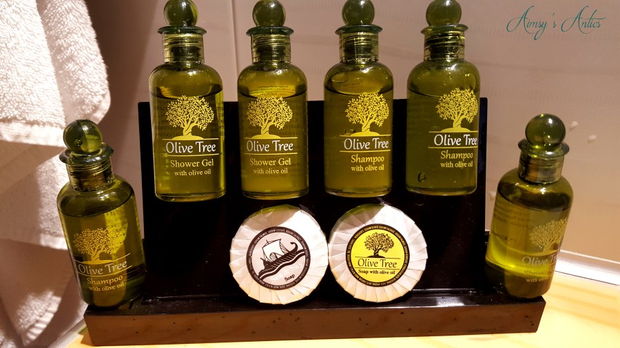 Image of the various olive oil based products at Anna Maria Hotel, Mykonos.