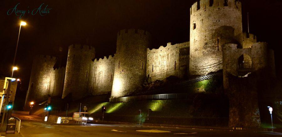 Night scene of Conwy Castle
