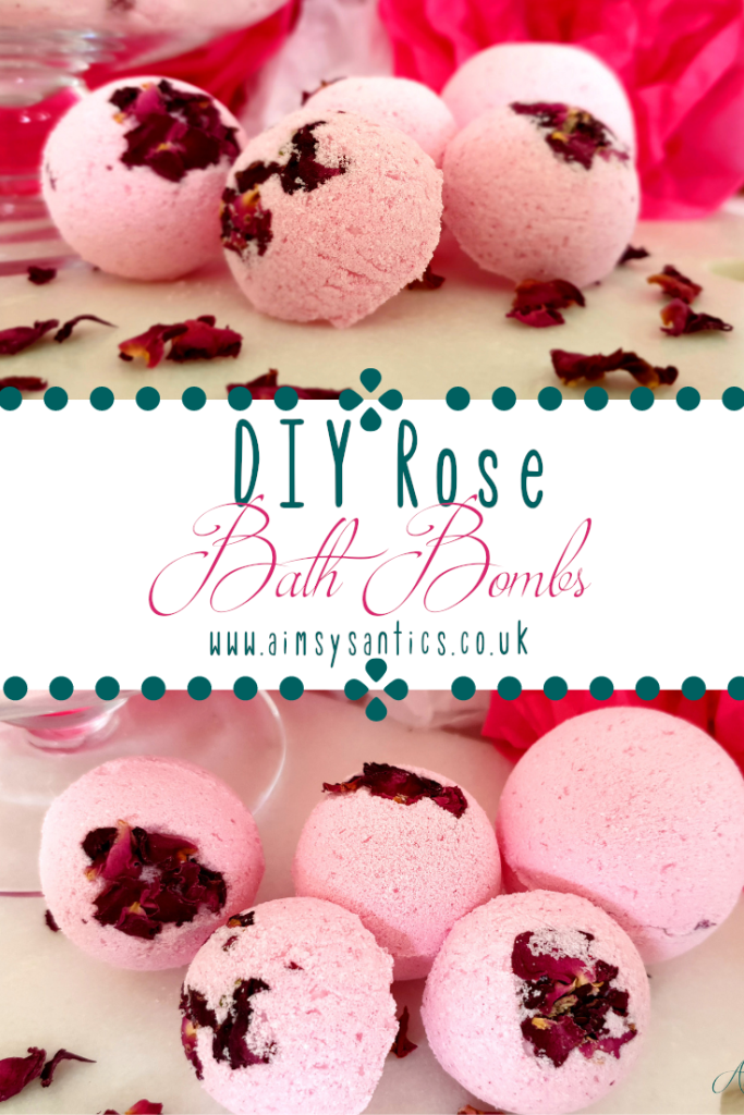 DIY Rose Bath Bombs - How to make your own rose scented bath bombs at home - www.aimsysantics.co.uk