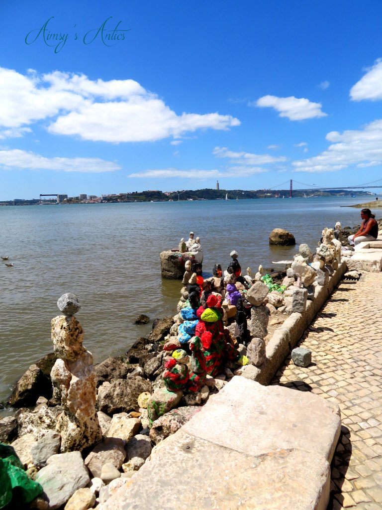 Pebble and stone art work on the edge of Tagus River, Lisbon
