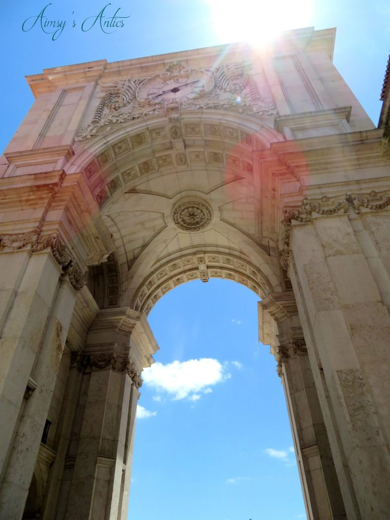 View looking up at Rua Augusta Arch, Lisbon
