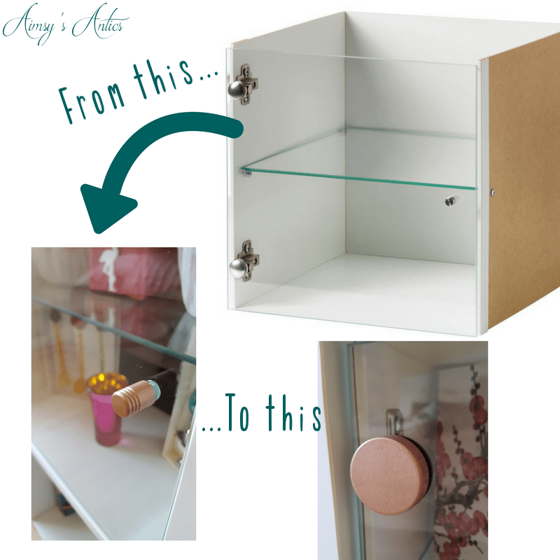Kallax shelf insert transformation, before and after picture