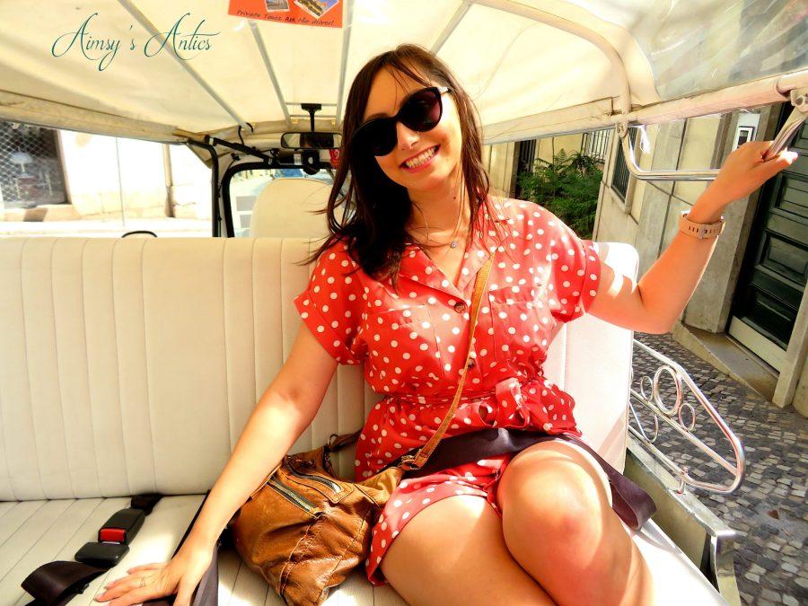 Girl sat in a Tuk-Tuk in Lisbon - three days in Lisbon