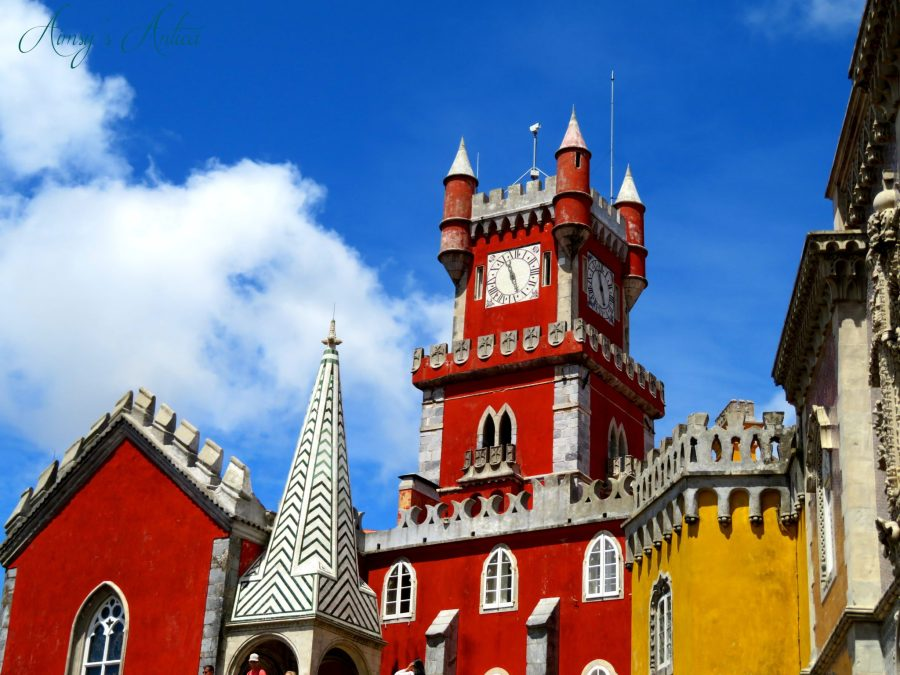 Red clock tower at Pena Palace, Sintra