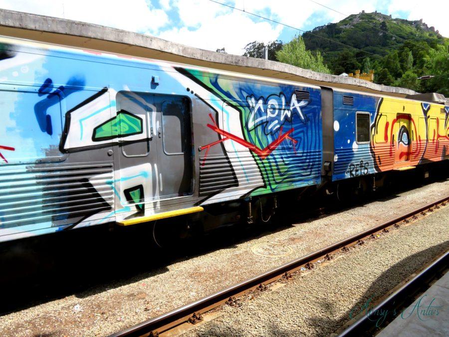 Train in Sintra covered in graffiti art