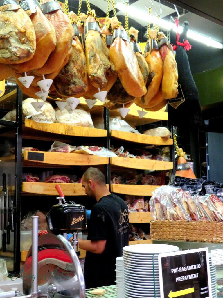 Cured meat stall in Time Out Market, Lisbon