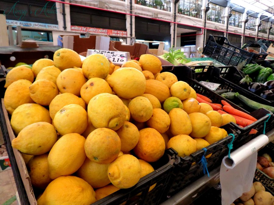 Fresh lemons at the traditional maket within Time Out Market, Lisbon